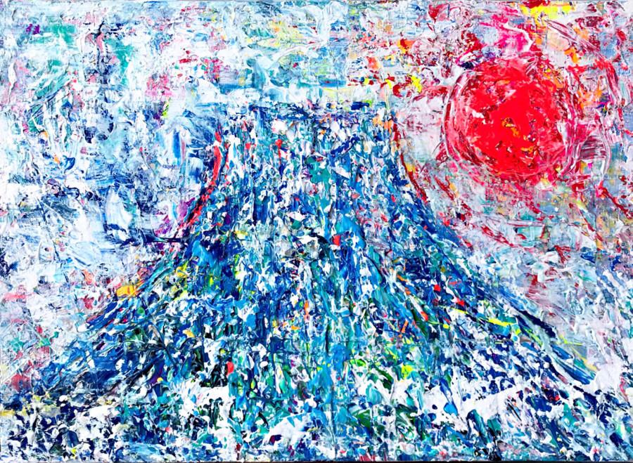 富士山の絵 アクリル画 松田光一